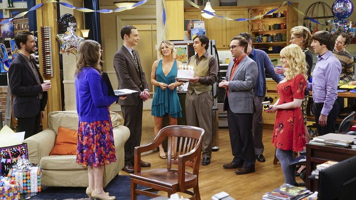 A scene from the CBS program The Big Bang Theory depicting a birthday party.