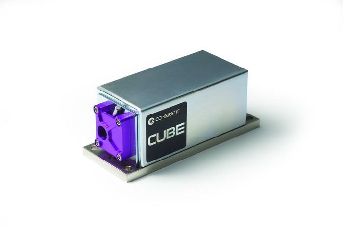 A Coherent CUBE laser diode, a small box with an opening at one end where the laser is emitted.