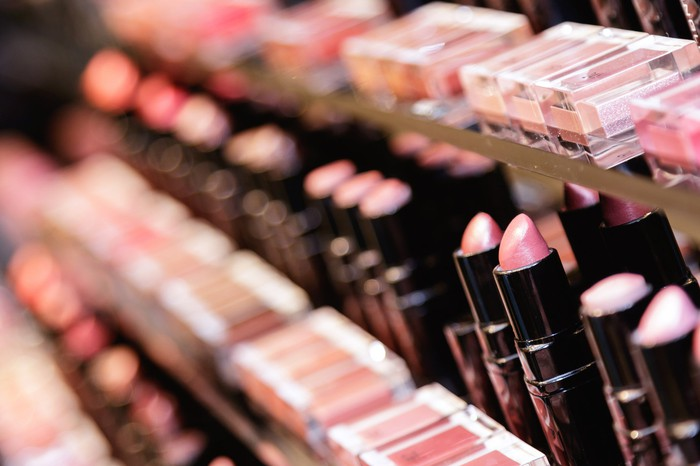 A display of lipstick and other cosmetics products
