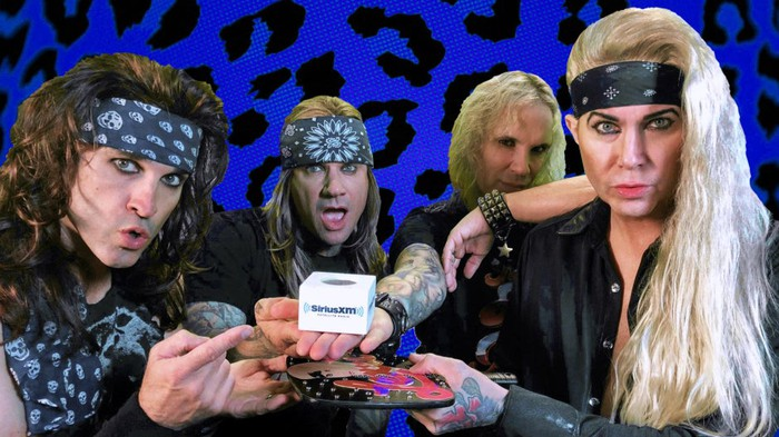 Steel Panther posing with Sirius XM swag at the Sirius XM studio.