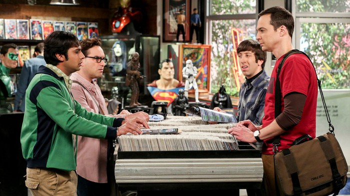The characters from The Big Bang Theory in a comic book shop.
