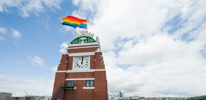 Pride flag atop a Starbucks location.