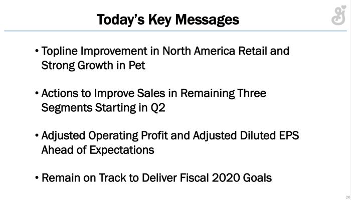 Management's slide summarizing key takeaways.