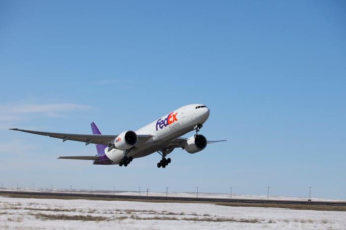 A FedEx plane.