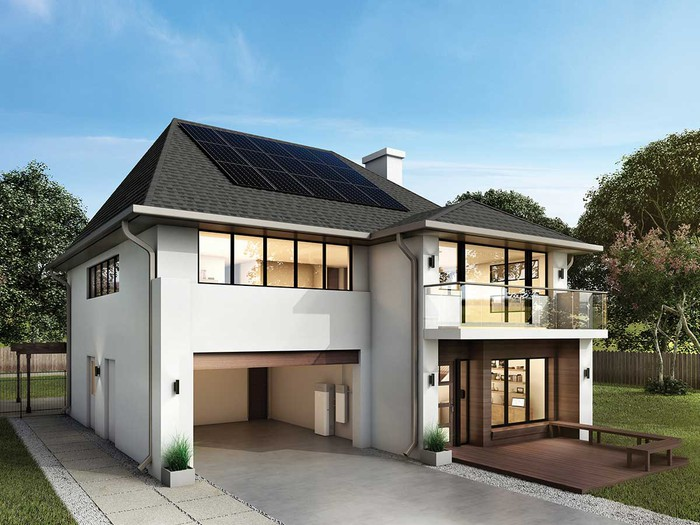 A two-story house with SunPower energy storage system in the garage.