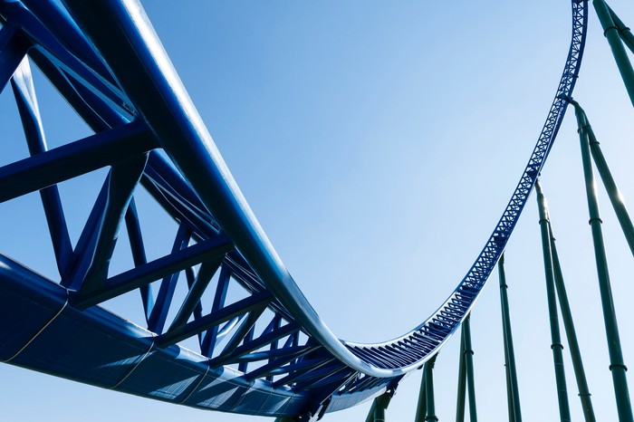 Rider's-eye view of a roller coaster track.