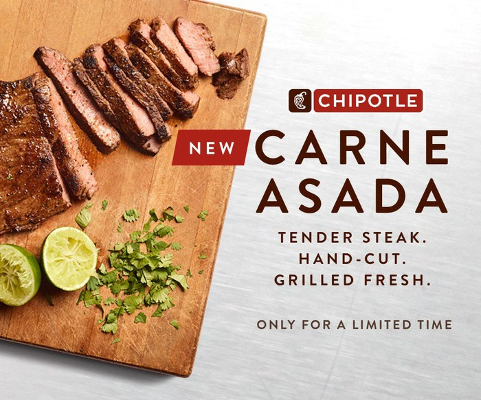 A Chipotle promotional graphic for carne asada