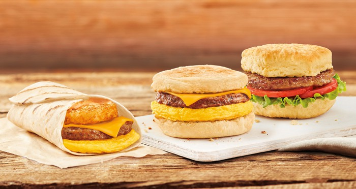 Three Tim Hortons plant-based breakfast sandwiches