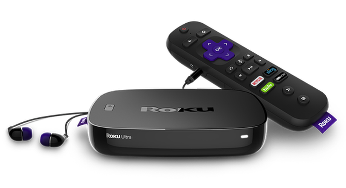 Roku OTT device, remote, and earbuds