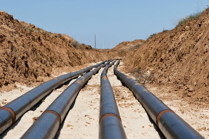 Energy pipeline project during construction.