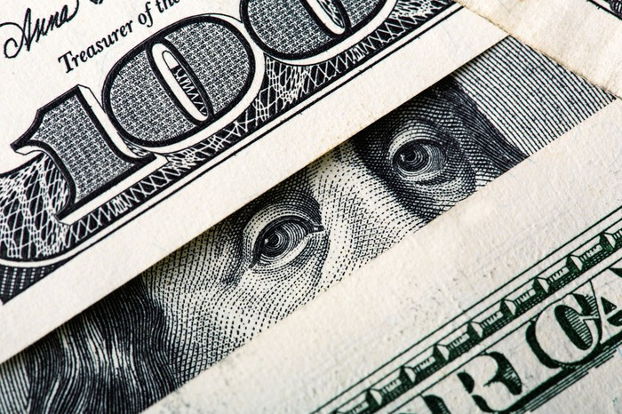 One hundred dollar bills lying atop one another, with Ben Franklin's eyes peering out between a handful of bills.