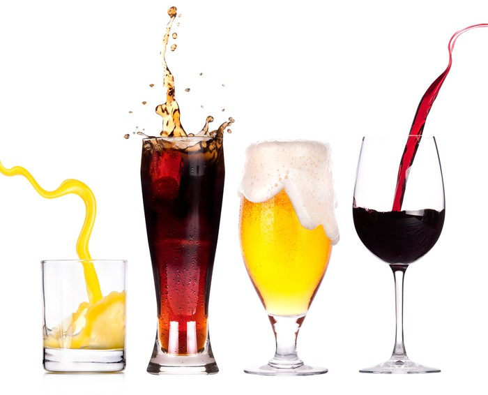 Glasses with different beverages