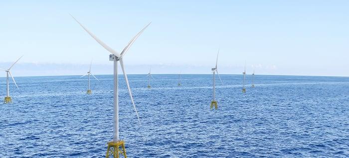 Haliade-X wind turbines shown at an offshore wind farm.