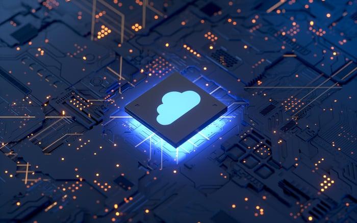 A cloud computing icon.