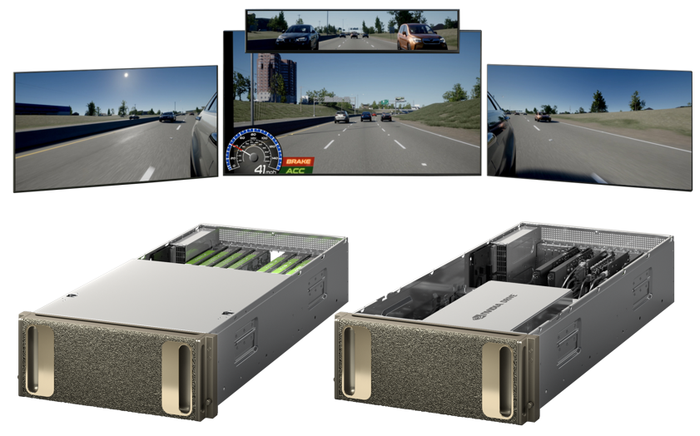 Two Nvidia Drive processor units, with images of computer generated driving simulation shown above them.