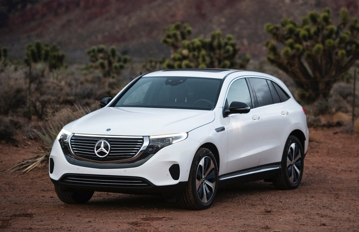 A Mercedes-Benz EQC, a battery-electric compact luxury crossover SUV.