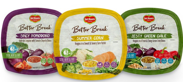 Three packages of Better Break branded food products.