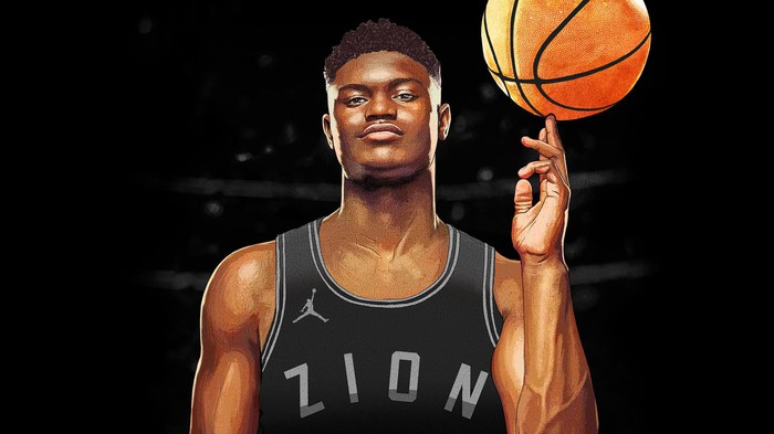 Zion Williamson spinning a basketball and wearing an Air Jordan jersey with Zion printed on the front.