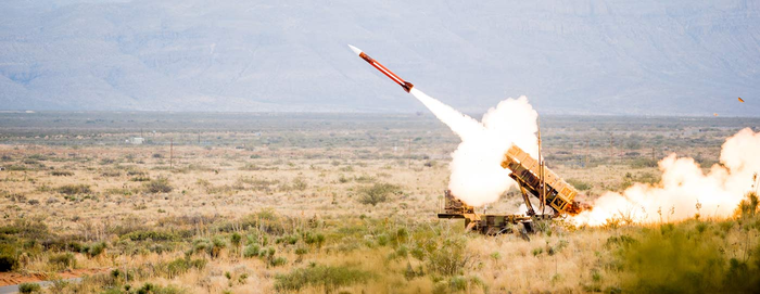 A Raytheon missile being launched.