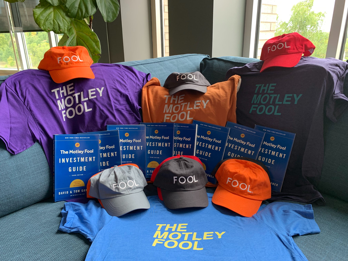 Picture of prize hats, shirts, and books