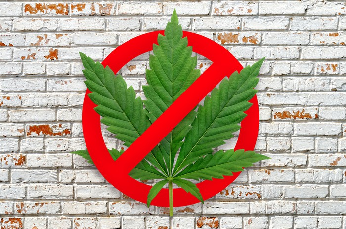 Marijuana leaf with a red circle around it and a red slash and a white brick wall in the background