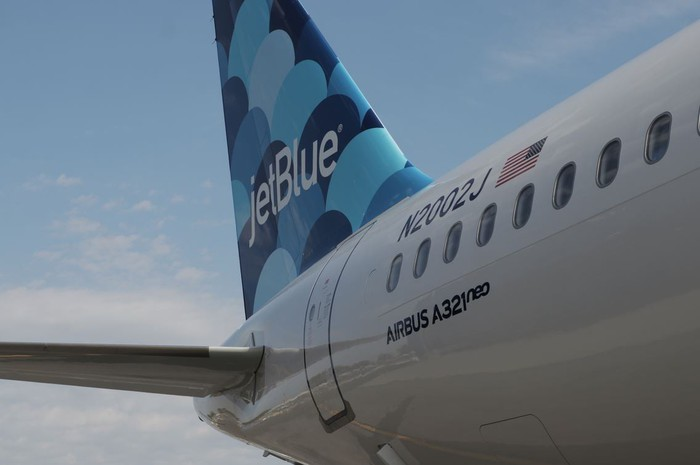 The tail of JetBlue's first Airbus A321neo