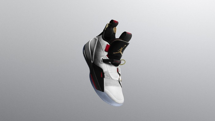 Nike Air Jordan XXXIII shoe in midair