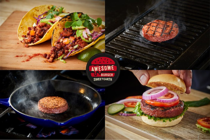Picture divided into four quadrants. Top left: tacos with Awesome Grounds plant-based meat. Top right and bottom left: an Awesome Burger on a grill and one in a skillet. Bottom right: an Awesome Burger on a bun topped with tomatoes and onions.