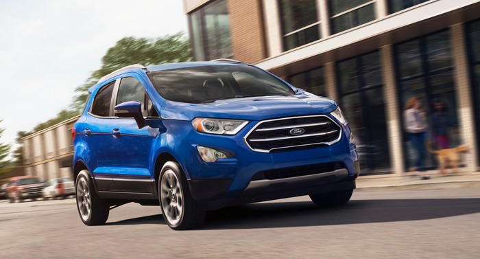 A blue 2019 Ford EcoSport, a small crossover SUV