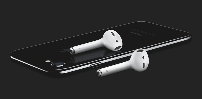 AirPods on top of an iPhone