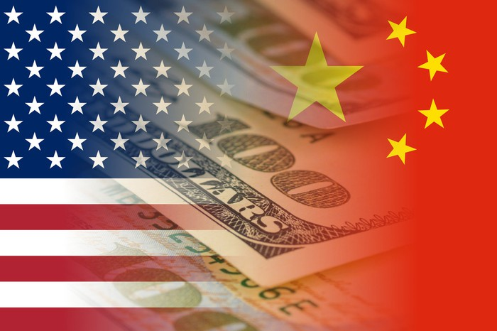 Overlay of the U.S. flag, Chinese flag, and $100 bill