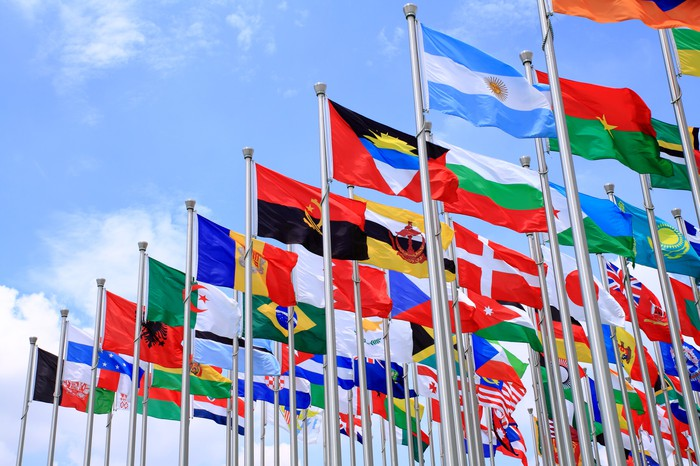 Flags of multiple countries against a blue sky background