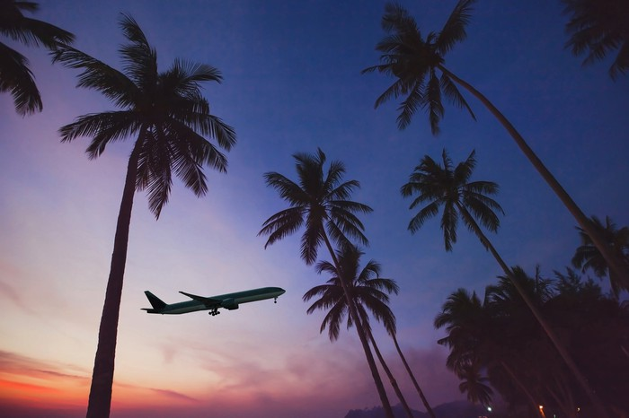A plane taking off among palm trees at sunset