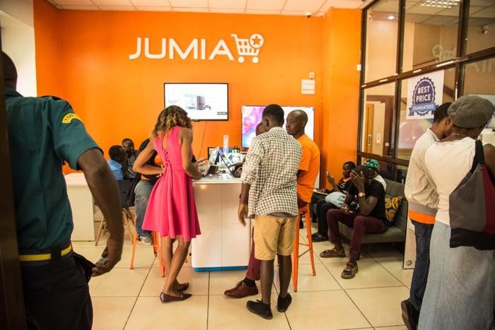 A busy Jumia demo store.