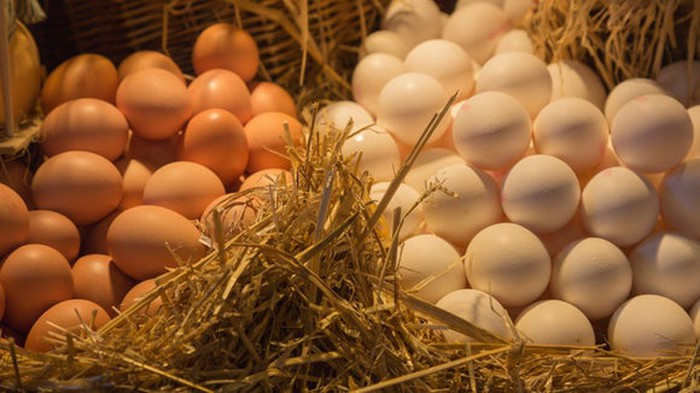 Eggs. Just a bunch of them, in baskets.