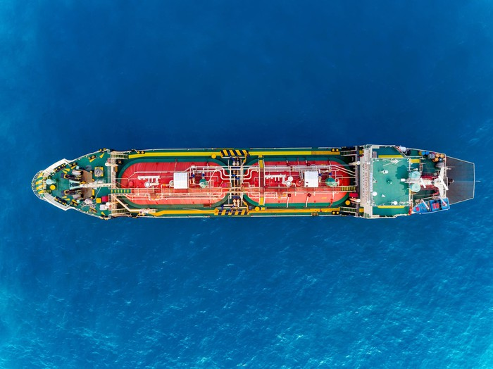 An oil shipping vessel from above.