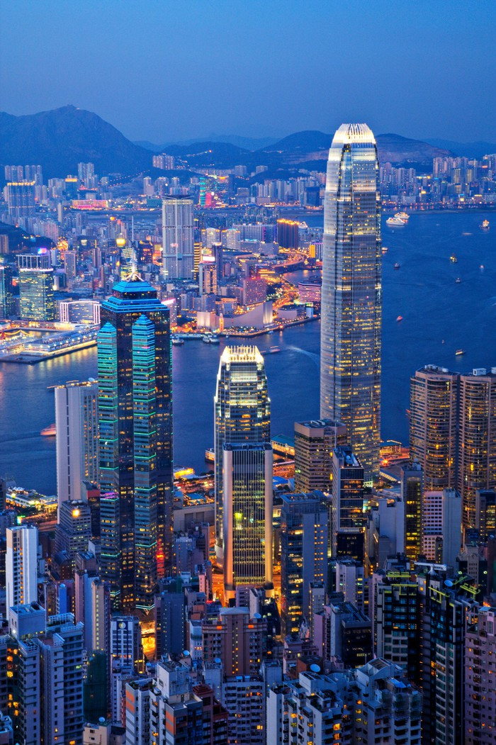 An image of the Hong Kong skyline.