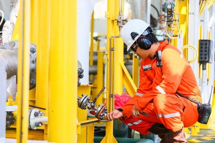 Worker on an oil platform