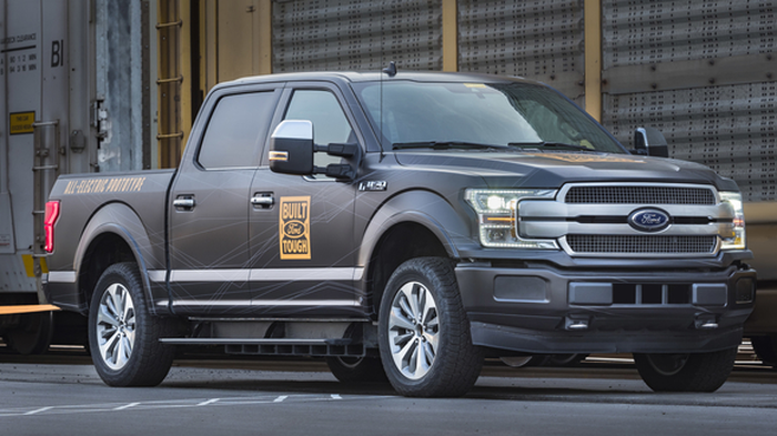 An all-electric Ford F-150 prototype. The company said the battery-powered truck towed more than 1.25 million pounds of rail cars and trucks during a capability test. Credit: Ford Motor Co.