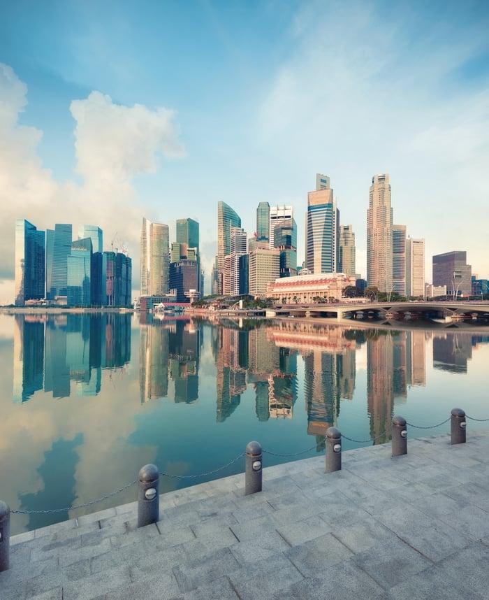 Central Singapore skyline.
