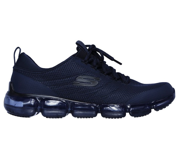 A navy blue mens Skechers Skech-Air shoe with bubble sole.