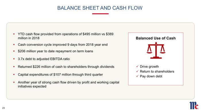 A slide showing takeaways on cash flow.