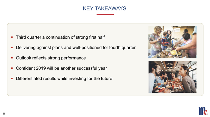 A slide showing management's key takeways.