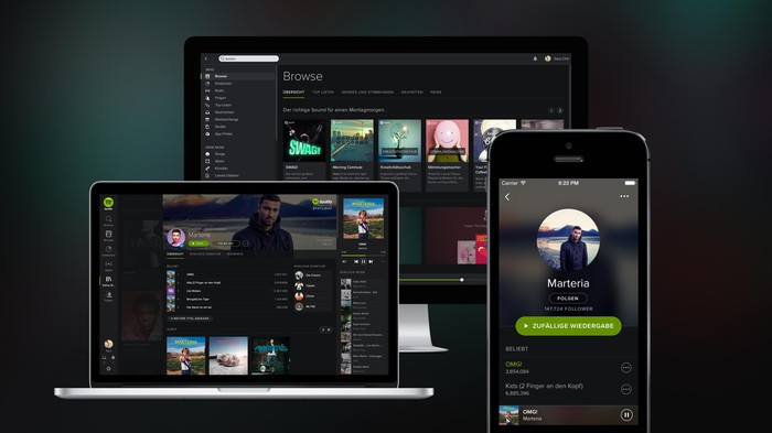 Spotify running on a PC, laptop, and smartphone.