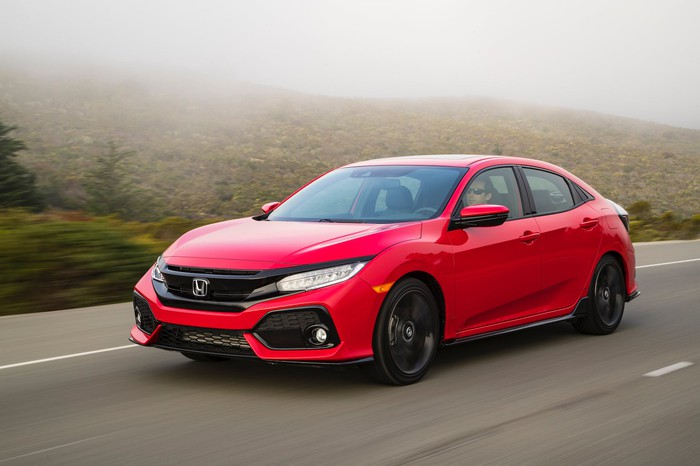 A red 2019 Honda Civic, a compact sedan