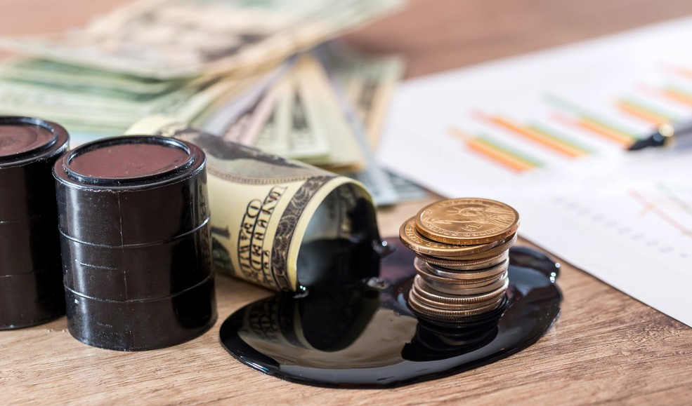 Getty Oil and Money on Desk