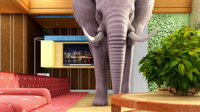 Pink elephant in a living room.