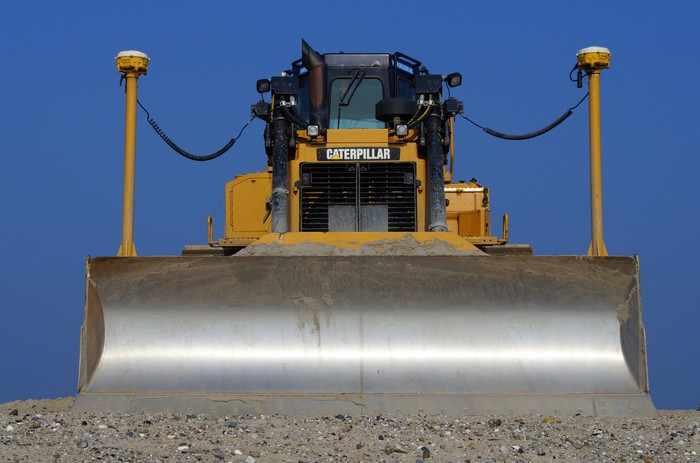 A Caterpillar bulldozer in action.