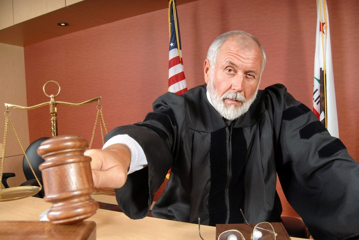 Judge banging a gavel