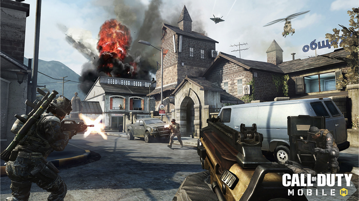 A screenshot from Call of Duty Mobile with battle taking place in a town